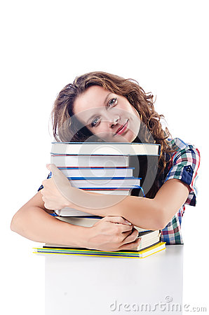 Student with lots of books