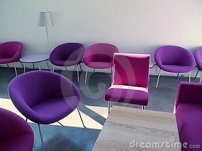 Student lounge: purple chairs