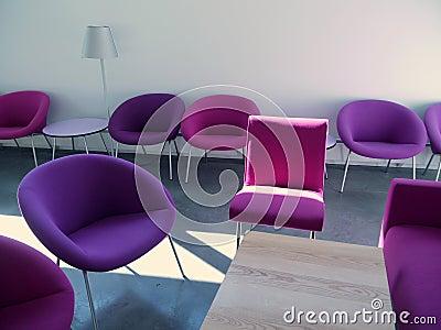 Student lounge: purple chairs