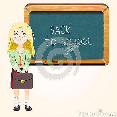 Student near blackboard vector