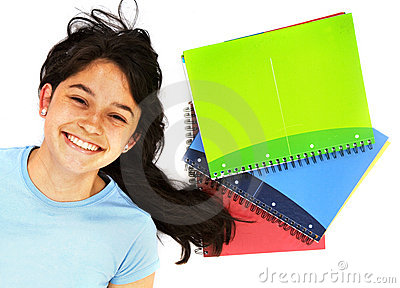 Student with notebooks