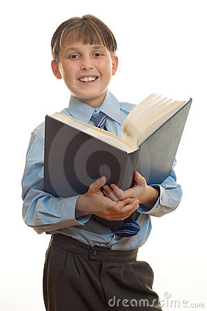 Student with open book