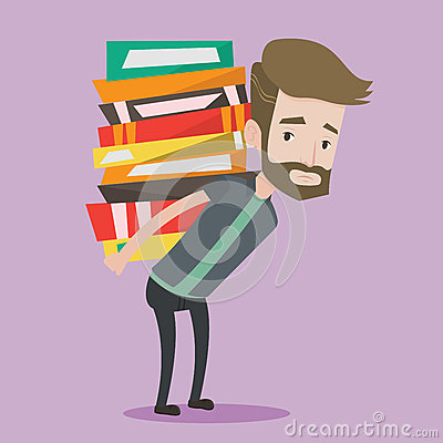 Student with pile of books vector illustration. Vector Illustration