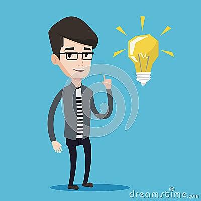 Student pointing at light bulb vector illustration Vector Illustration