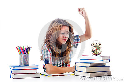 Student preparing for  exams