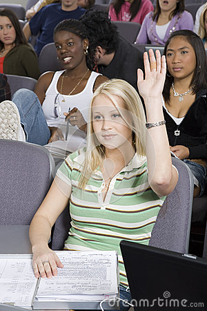 Student Raising Her Hand To Answer