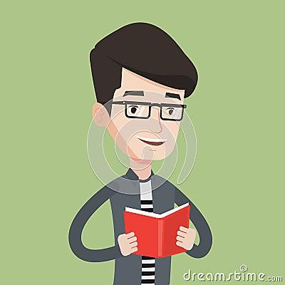 Student reading book vector illustration. Vector Illustration