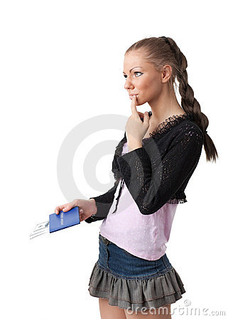Student With The Record Book And Money.  Bribe. Stock Photos - Image: 14286633