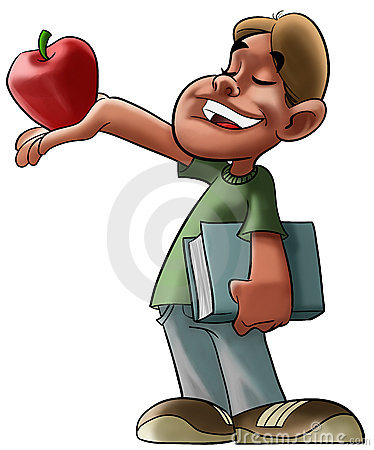 Student and red apple