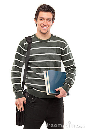 Student with a school bag holding books