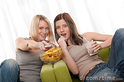 Student series - Two teenage girls watching TV