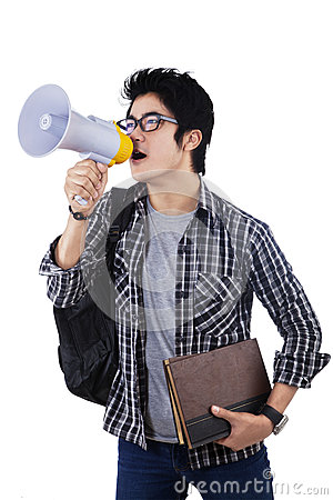 Student shouting through megaphone
