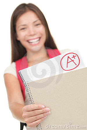 Free Student Showing Grade / Test Results Stock Photography - 15264152