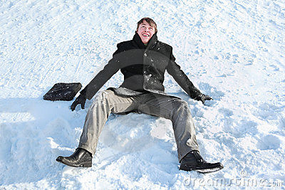 Student sits on snow