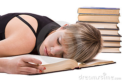 Student is sleeping on the book