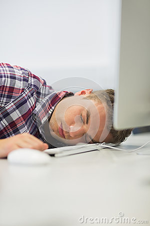 Student sleeping in the computer room