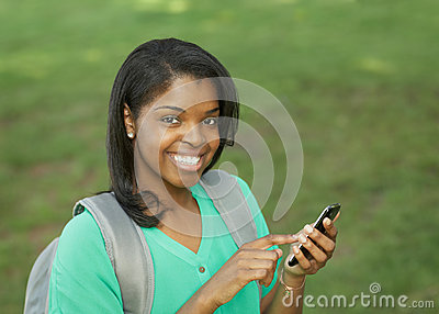 Student with smart phone
