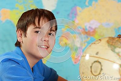 Student studies geography