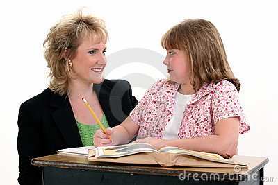 Student and Teacher at Desk