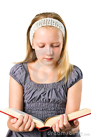A student teenager girl reading a book