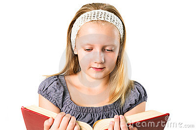 Student teenager girl reading a book isolated