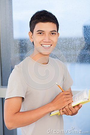 Student with textbook