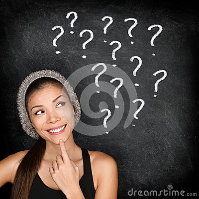 Free Student Thinking With Question Marks On Blackboard Stock Photography - 51014452