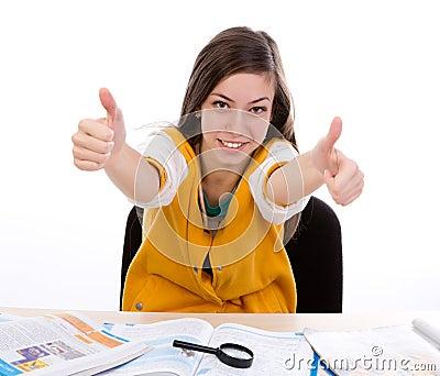 Student  thumb up