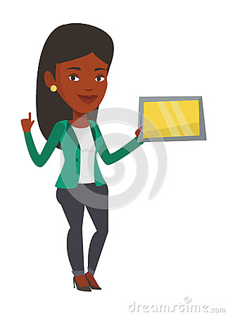 Student using tablet computer vector illustration. Vector Illustration