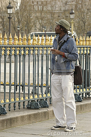 A student walking in Paris