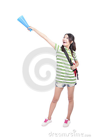 Student woman hand pointing to empty copy space