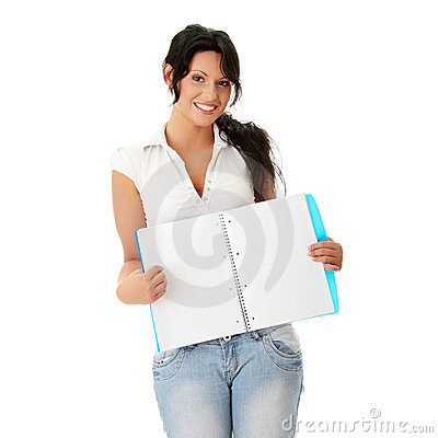 Student woman with note pad