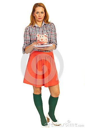Student woman with piggybank