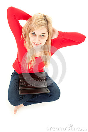Student woman working on laptop