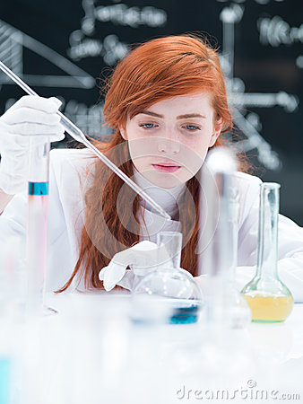 Student working in a chemistry lab