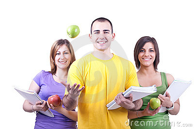 Students and apples