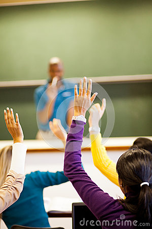 Students arms up