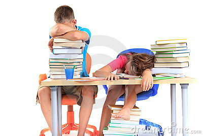 Students asleep after studying