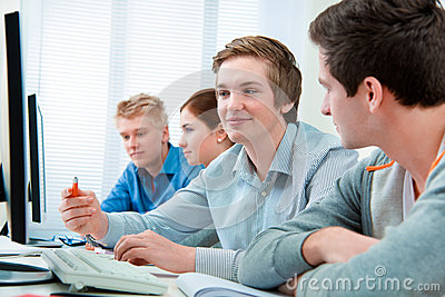 Students attending training course