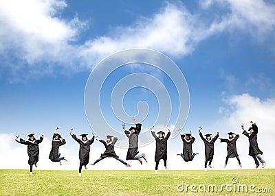 Students celebrate graduation and happy jump