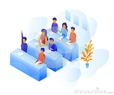 Students in classroom vector color illustration Vector Illustration