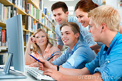 Students in a college library
