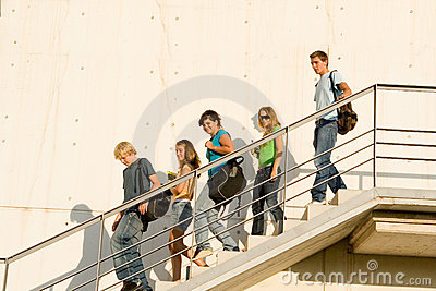 Students coming out of school