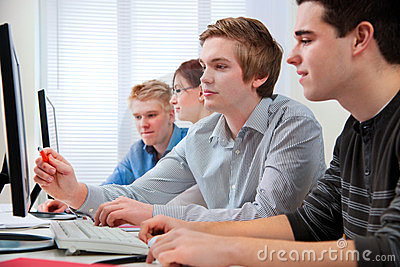 Students in a computer classroom