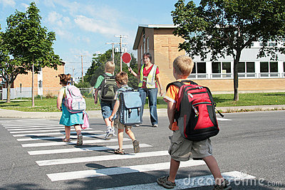 Students crossing street