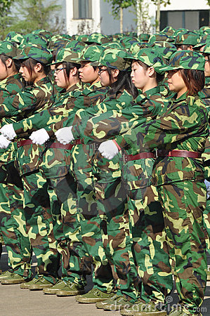 Students doing military training Editorial Stock Image