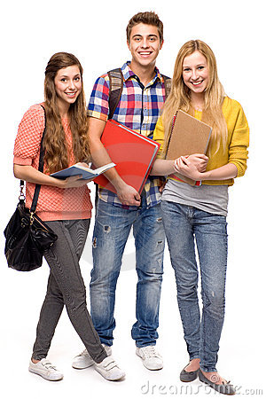 Students holding books