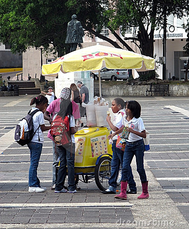 Students and ice cream man Editorial Photography