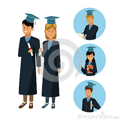 Free Students In Robe Cartoon Stock Image - 108591711