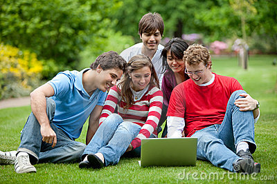 Students with a laptop